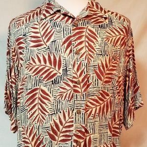 Roundtree & Yorke L mens Palm Leaf Hawaiian Shirt